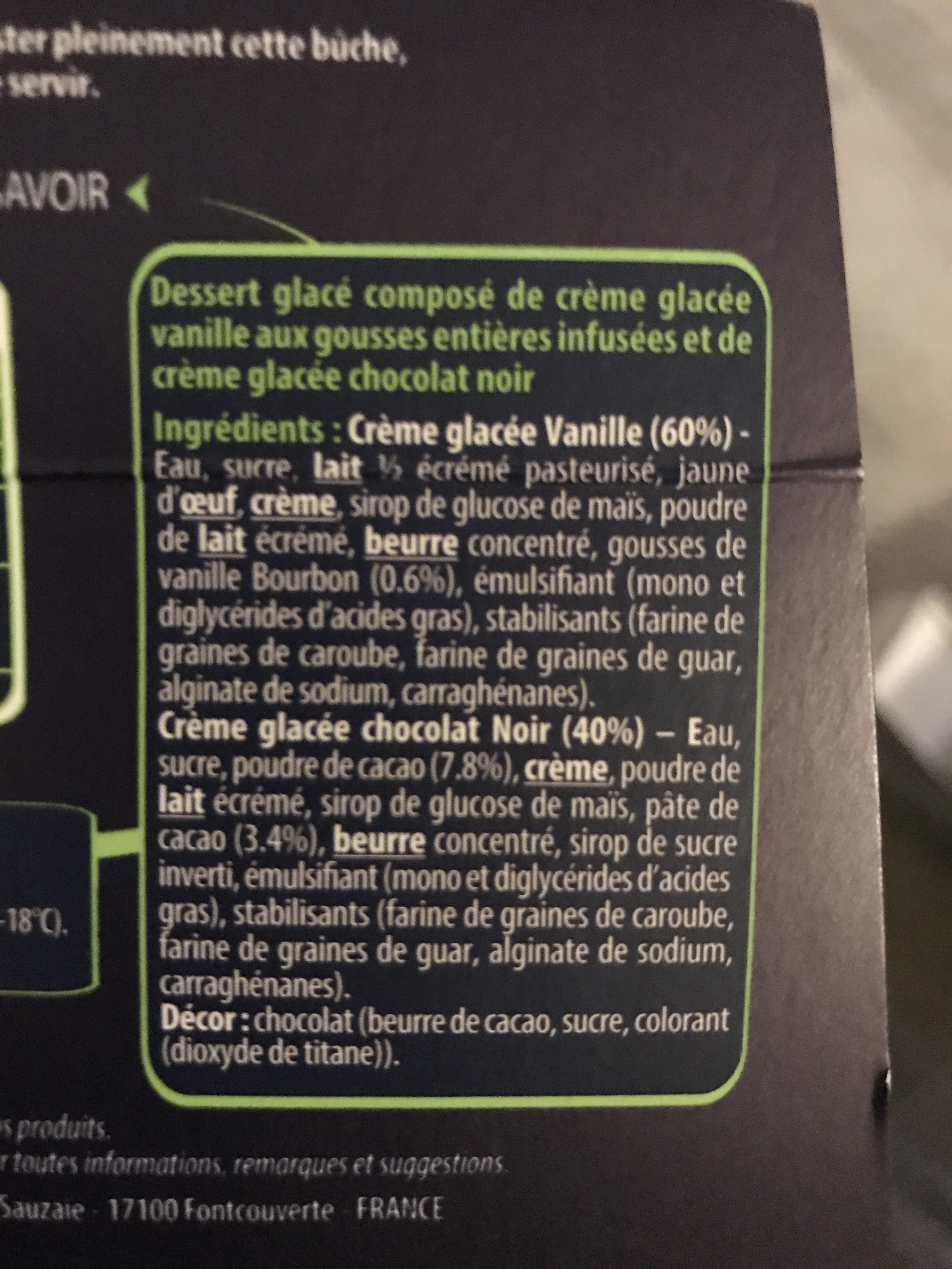 Creme glacèe - Ingrédients - fr
