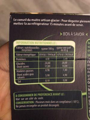 Creme glacèe - Informations nutritionnelles - fr