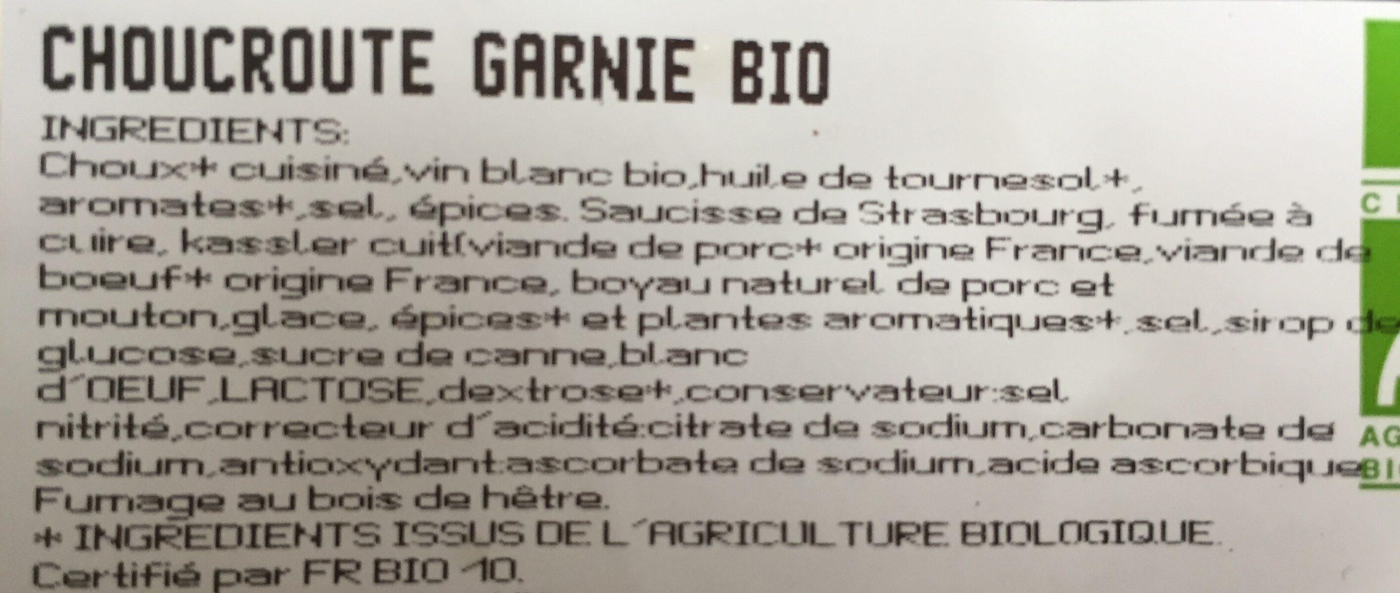 Choucroute garnie bio - Ingrédients - fr