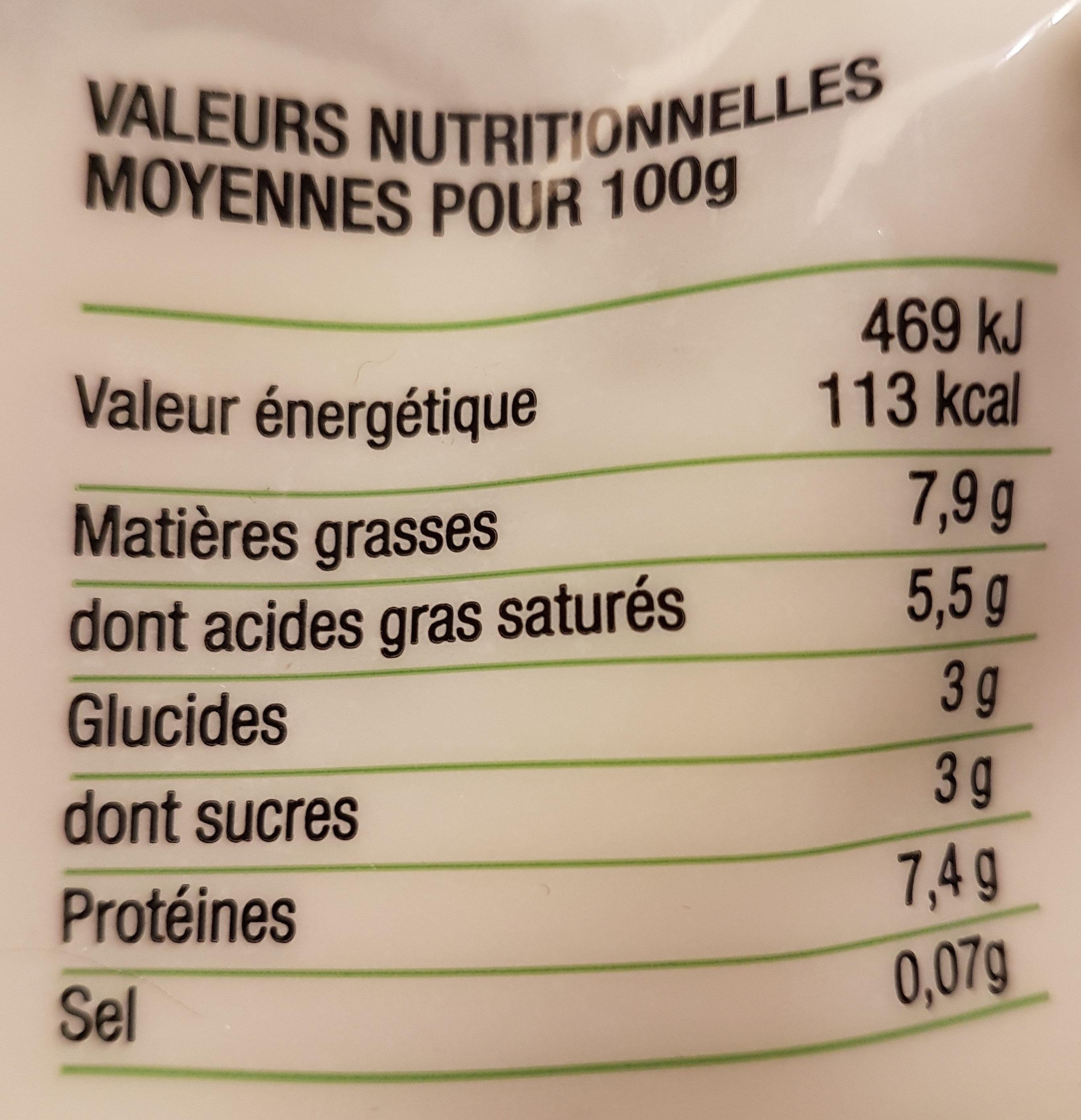Le fromage blanc des limousins - Voedingswaarden - fr