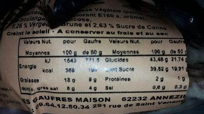 Gaufres maison vergeoise - Informations nutritionnelles - fr
