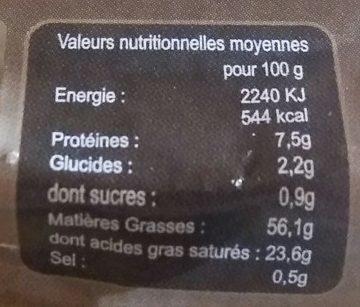 Foie gras de canard - Voedingswaarden