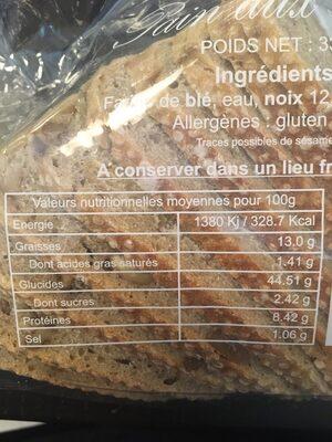 Pain aux noix - Ingrediënten