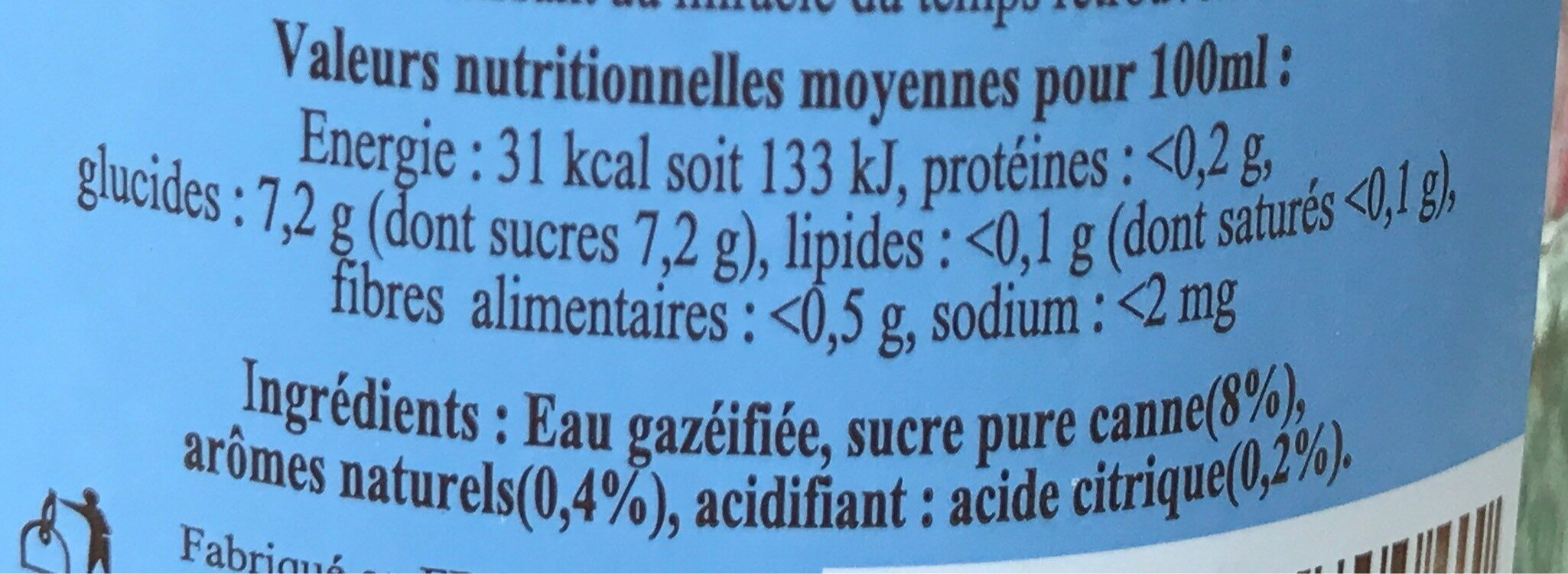 Elixia Limonade Sapin (750ml Flasche) - Informations nutritionnelles - fr