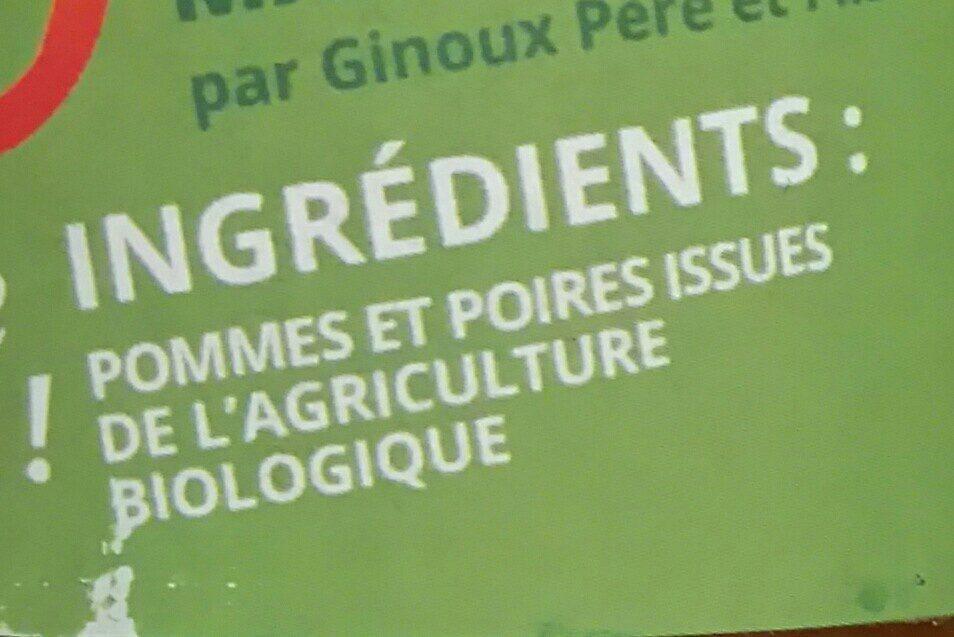 Pur Jus Pommes-Poires Bio - Ingredienti - fr