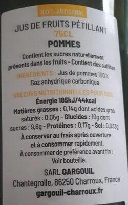 Jus de pommes pétillant - Informations nutritionnelles - fr