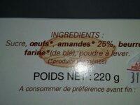 Gâteau moelleux aux amandes - Ingrediënten