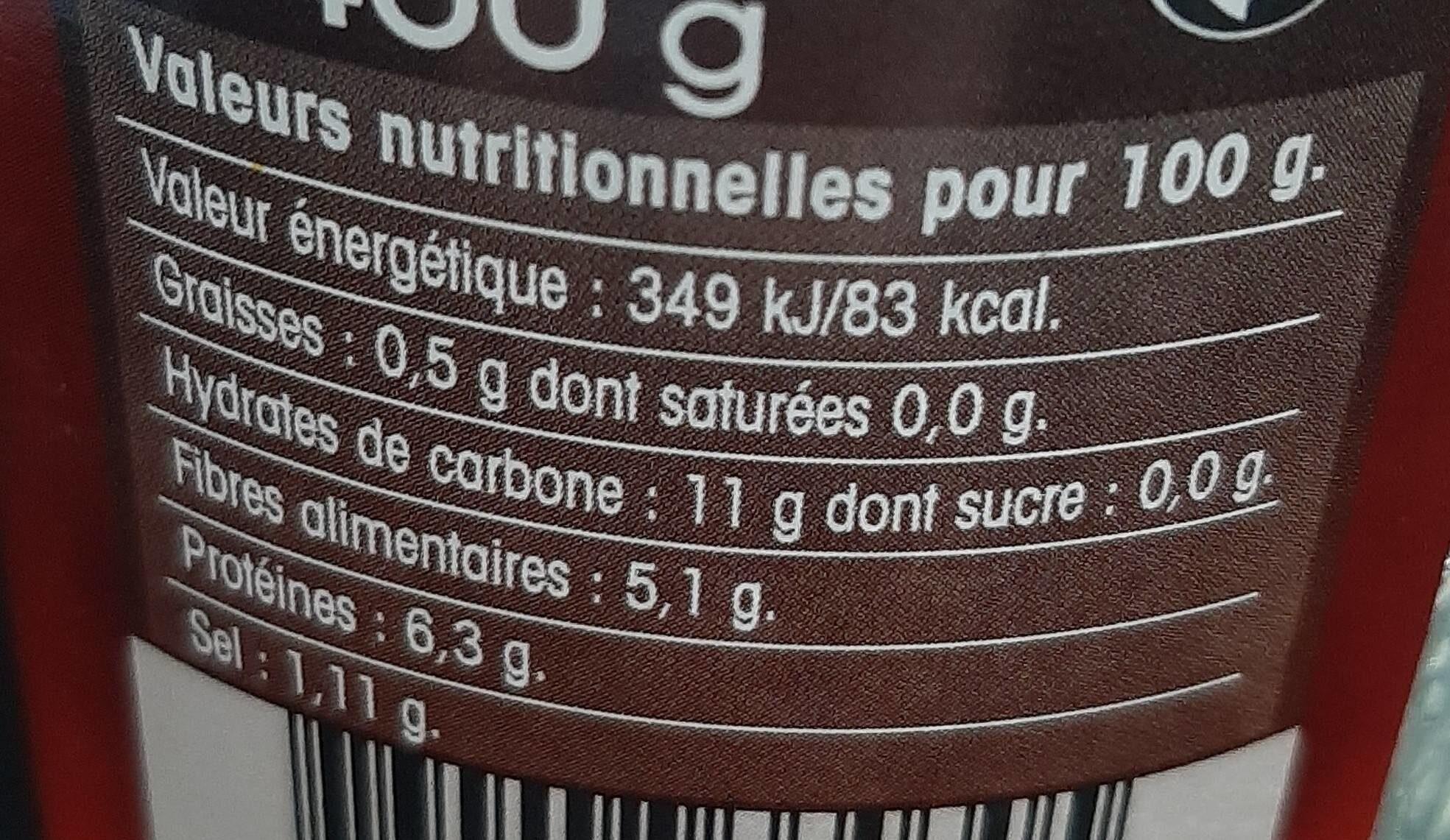 Lentilles MONTPERAL - Informations nutritionnelles - fr