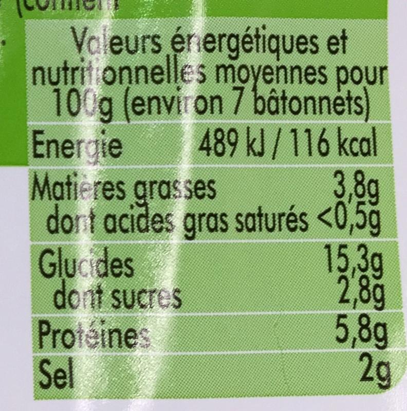Bâtonnets saveur Crabe Halal - Informations nutritionnelles