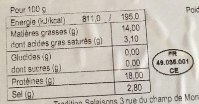 Filets de maquereau mac fumé - Informations nutritionnelles