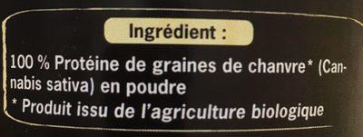Protéine De Chanvre Cru En Poudre Bio - 200 G - Uberti - Ingrediënten