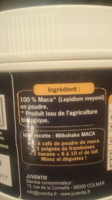 Maca bio - Ingredientes - fr