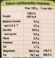 Spiruline bio - Informação nutricional - fr