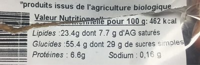 Cookies chocolat noisette - Nutrition facts