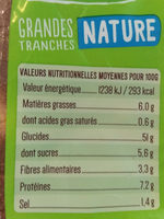 Grandes tranches Nature Bio - Voedingswaarden