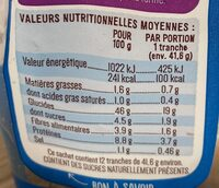 Toastiligne Nature - Valori nutrizionali - fr