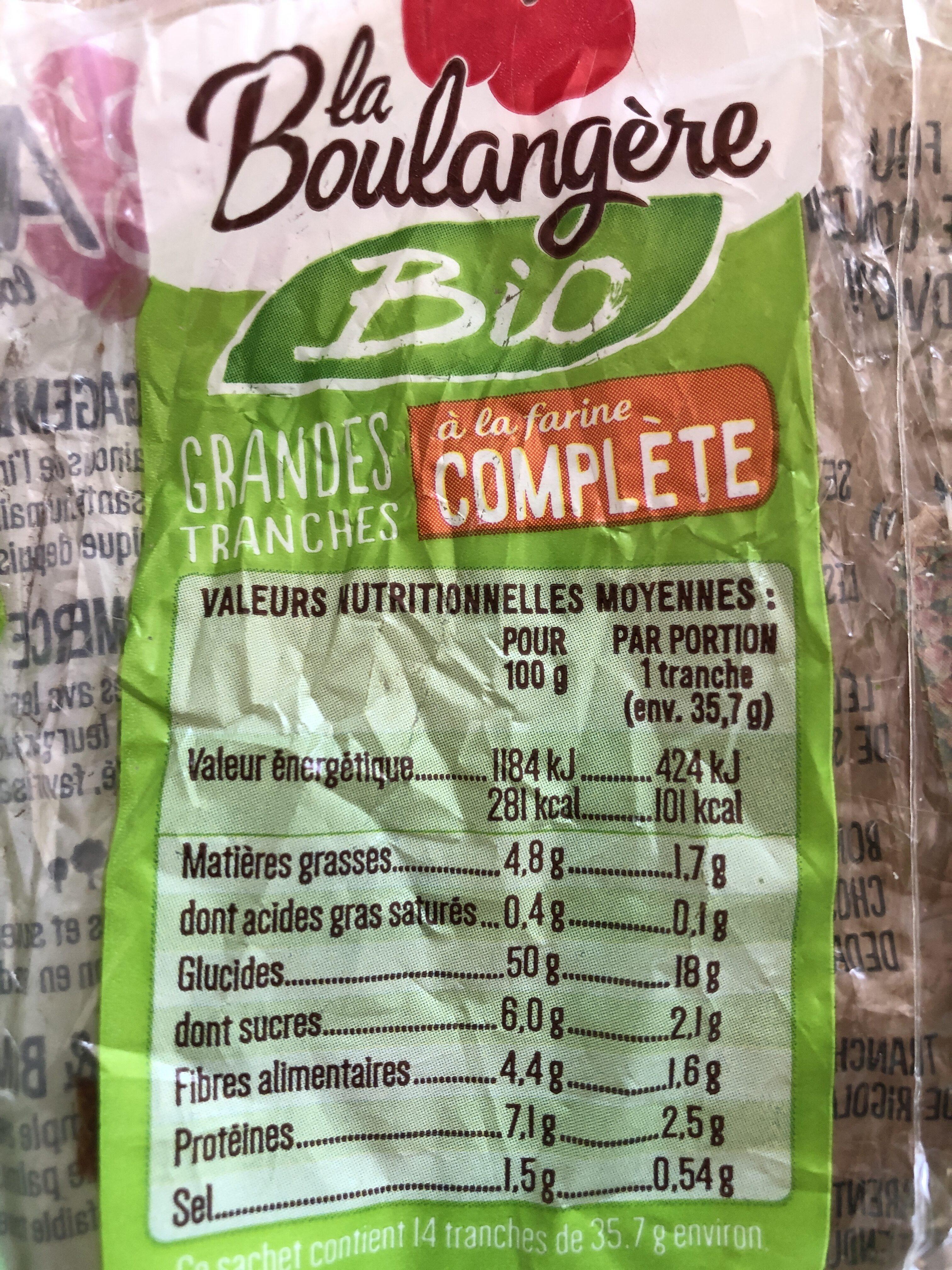 Pain de mie Bio à la farine complète - Informazioni nutrizionali - fr