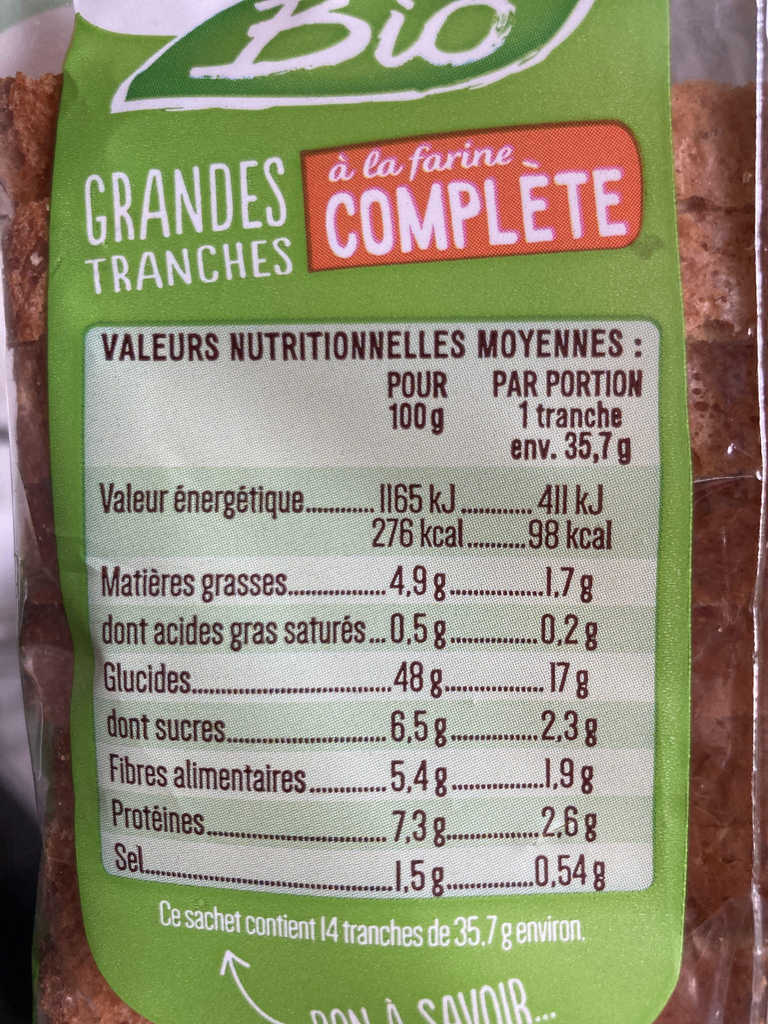 Pain de mie à la farine complète - Nutrition facts - fr