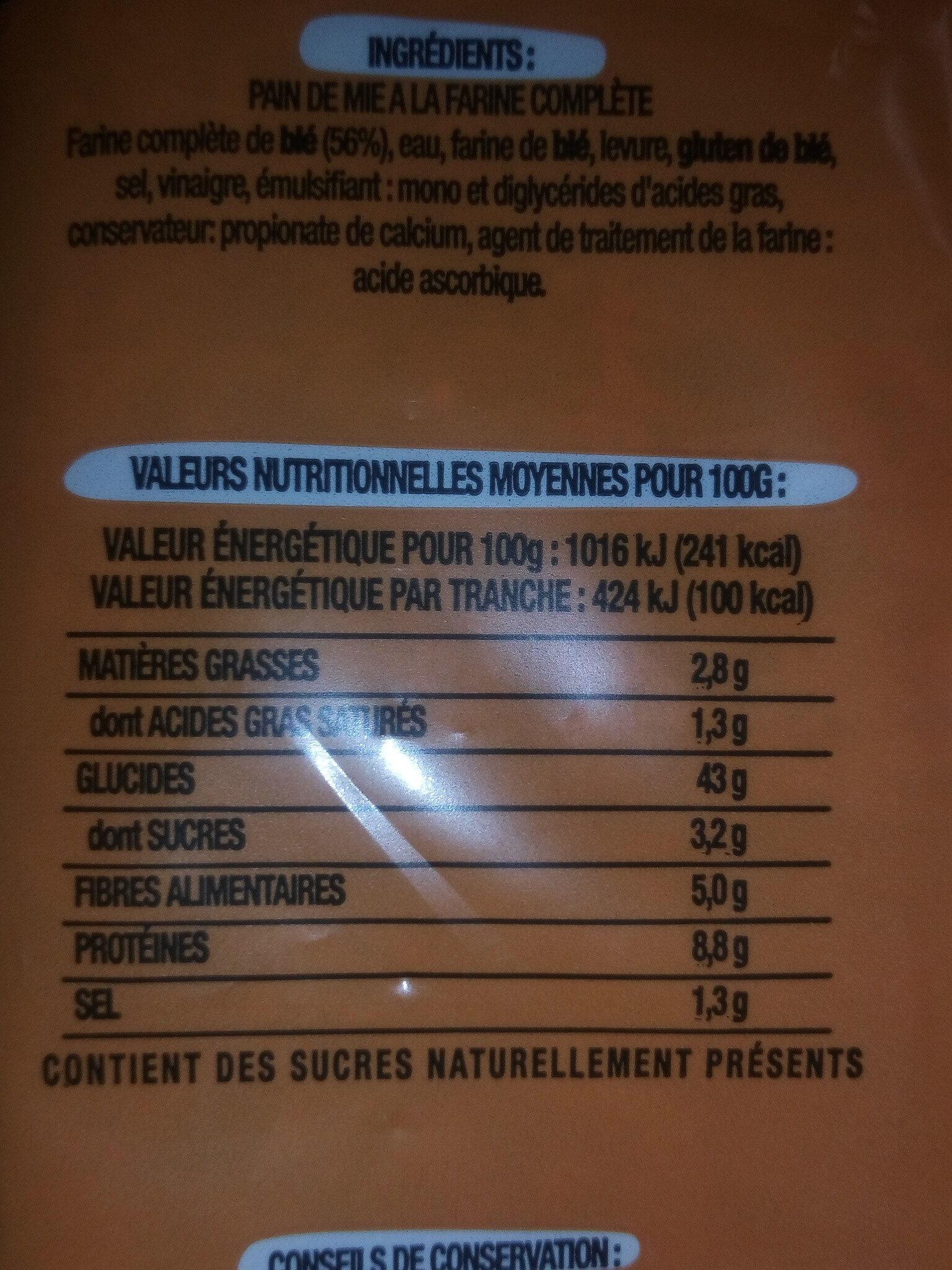 Pain de mie à la farine complète Toastiligne - Ingrédients - fr