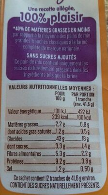 Pain de mie à la farine complète Toastiligne - Informations nutritionnelles - fr