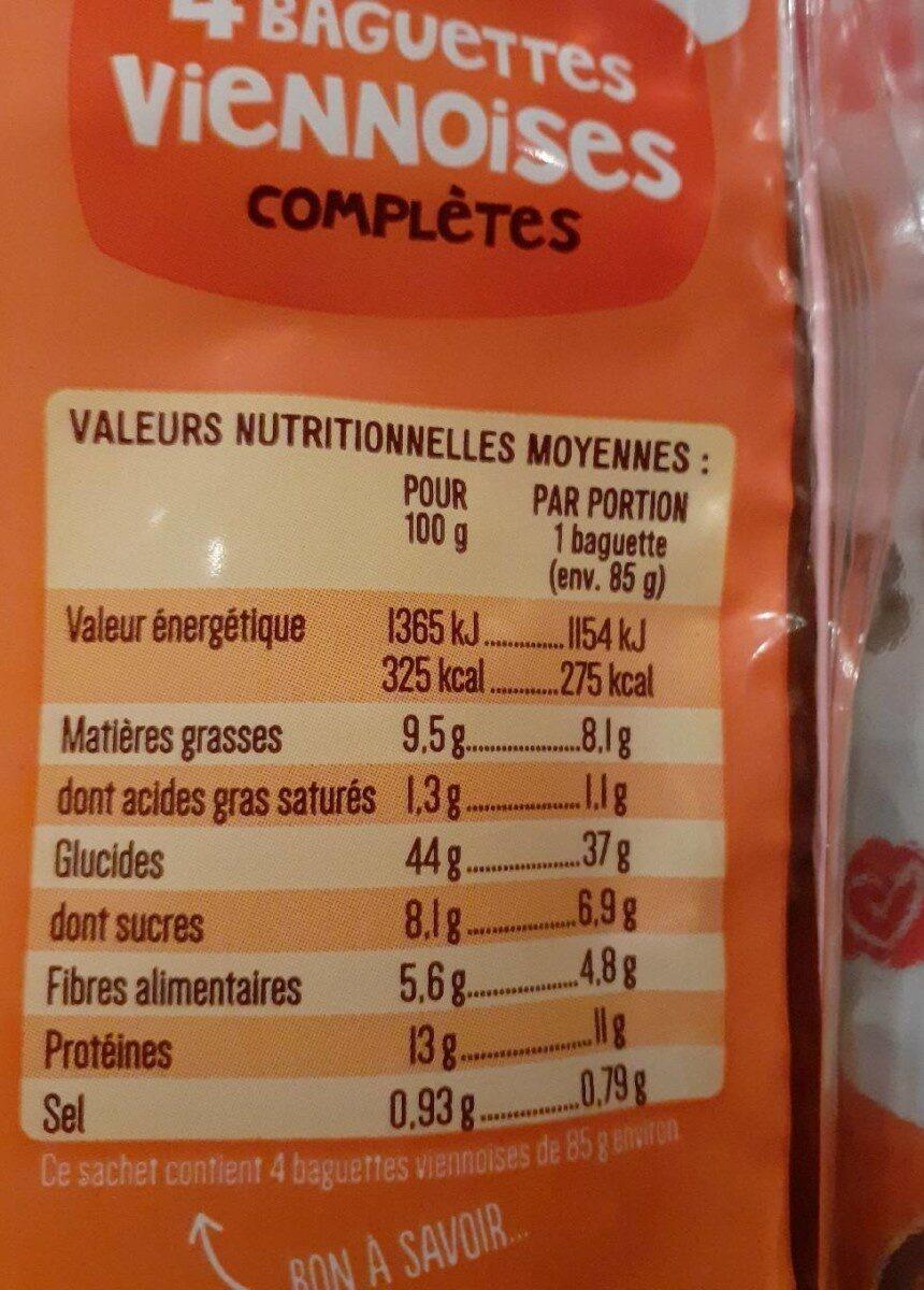 Baguette viennoises complètes - Informations nutritionnelles - fr