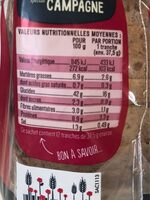 Tartines spécial campagne - Nutrition facts - fr