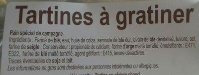 Tartines à gratiner - Ingrédients - fr
