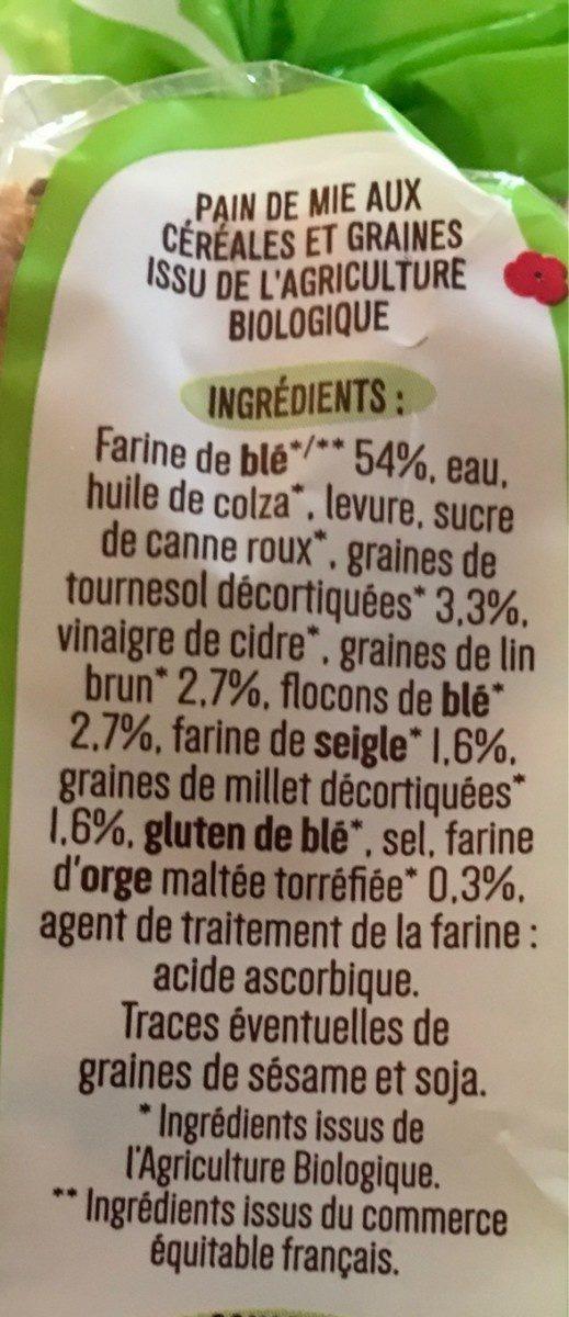 Pain de mie bio Céréales et graines - Ingrédients - fr
