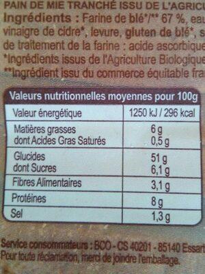 Pain de mie nature Bio (14 tranches) - Voedingswaarden