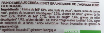 Pain de mie céréales graines - Ingrédients - fr