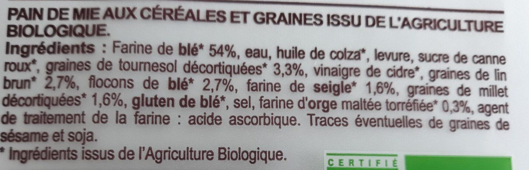 Pain de mie céréales graines - Ingrediënten - fr