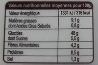 Pain de mie Bio céréales et graines - Informations nutritionnelles