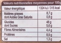 Pain de mie céréales graines - Nutrition facts - fr