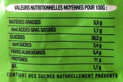 Toastiligne Céréales 0% matières grasses et sucres - Nährwertangaben