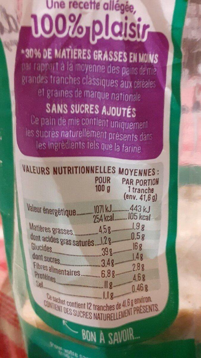 Toastiligne céréales et graines - Nutrition facts - fr