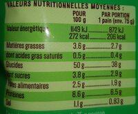 Pains du Monde 4 Pains Panini - Voedingswaarden - fr
