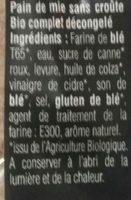 Pain de mie Complet Bio sans croûte - Ingrediënten - fr