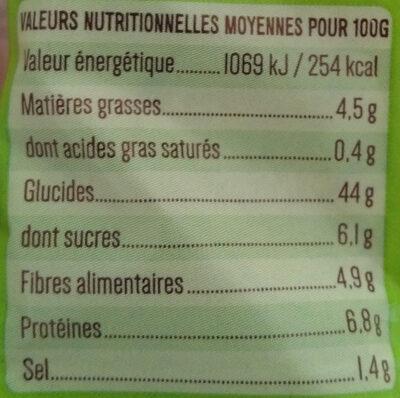 Pain de mie bio sans croûte à la farine complète - Informations nutritionnelles