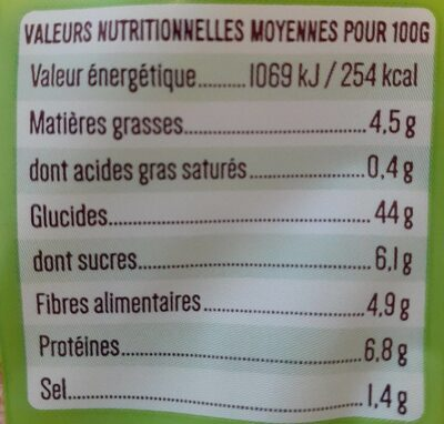 Boulangère pain de mie complet sans croûte bio - Valori nutrizionali - fr