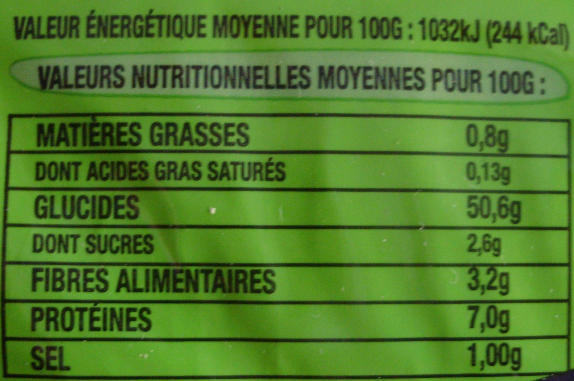 Pavé Au Levain Bio - A réchauffer - Voedingswaarden