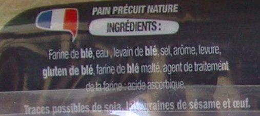 Baguette au four - Ingrédients - fr