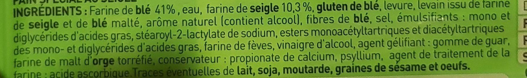Pain Spécial au Seigle - Ingrédients - fr