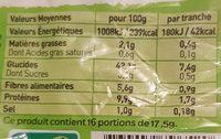 Pain Spécial au Seigle - Informations nutritionnelles - fr