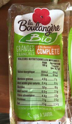 Pain de mie complet bio - Valori nutrizionali