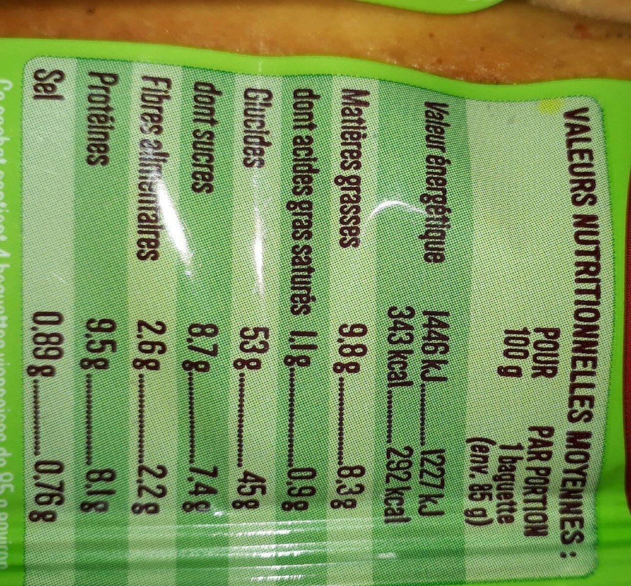 Baguettes viennoises - Valori nutrizionali - fr