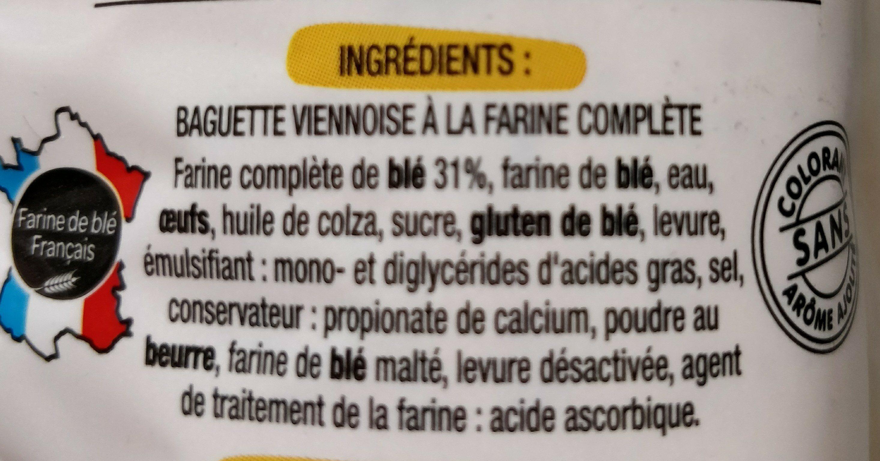 Baguette viennoise farine complète - Ingredienti - fr