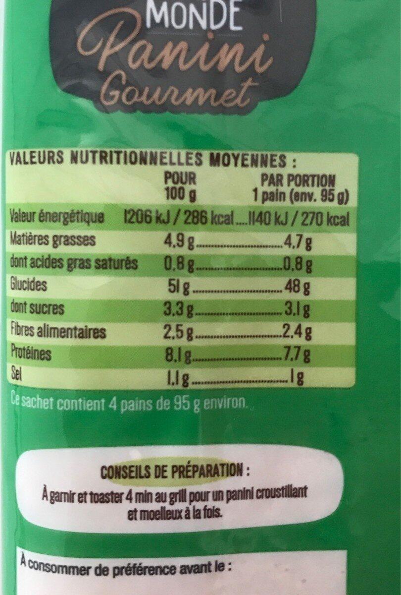 Pain Panini Gourmet - Valori nutrizionali - fr