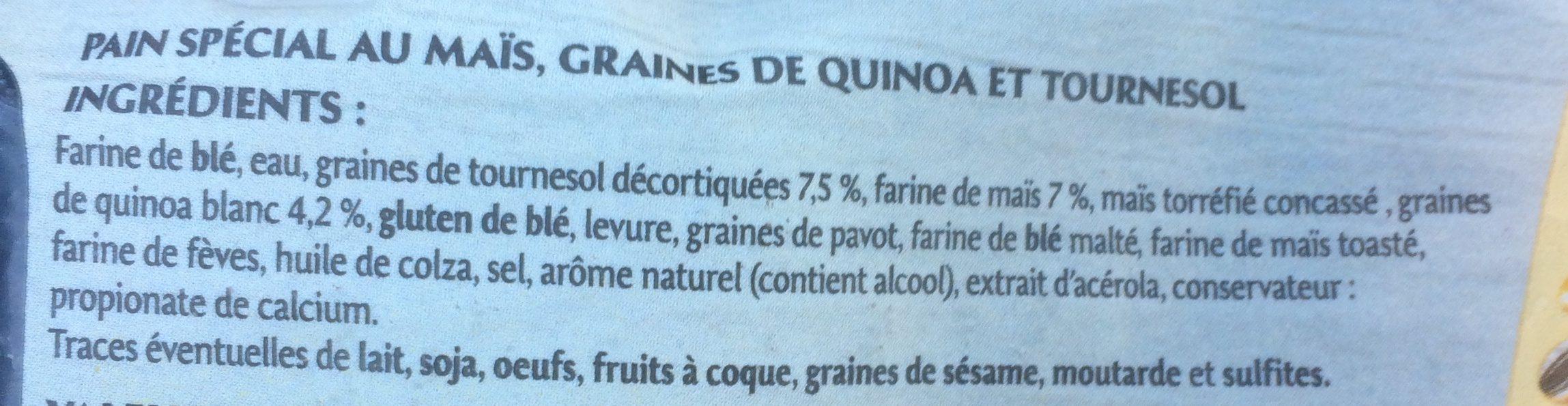L'Atelier - Pain spécial au maïs, graines de quinoa et tournesol - Ingredienti - fr