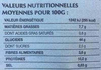 L'Atelier - Pain spécial au maïs, graines de quinoa et tournesol - Valori nutrizionali - fr