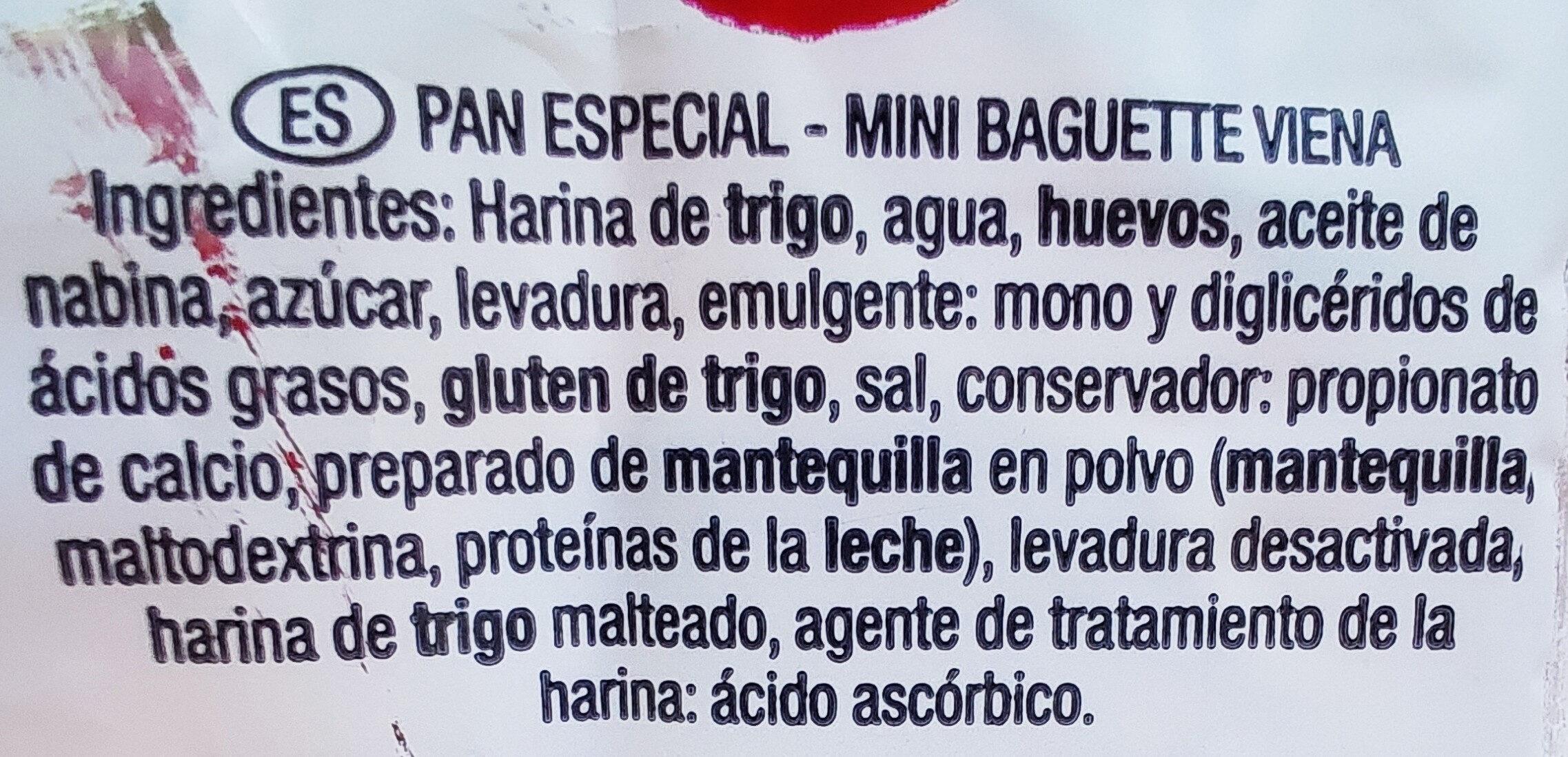 Mini Baguette Viena - Ingredientes - es